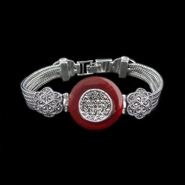 Chegada nova Hight Qualidade de Luxo Do Vintage Ágata Vermelha Jóias Antigas Banhado A Prata Pulseiras de Pedra Natural Para As Mulheres