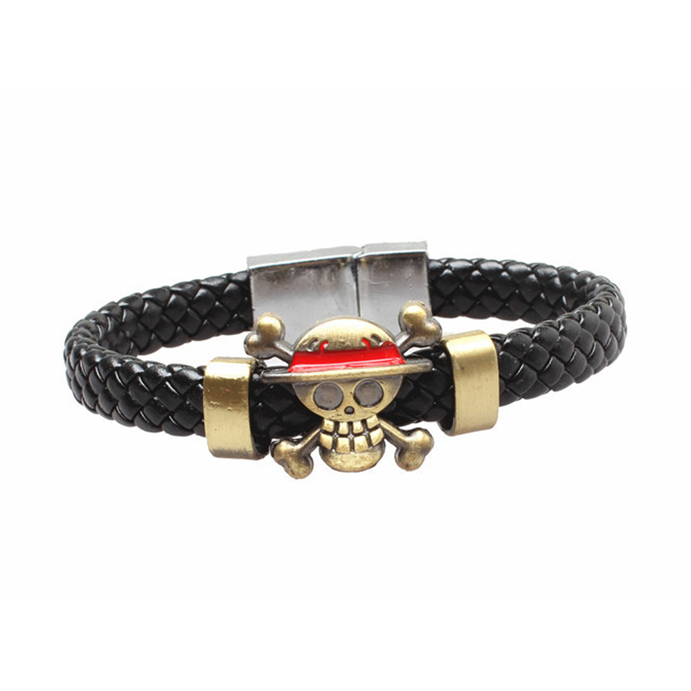 Anime One Piece Bracelet Men Skull Monkey D. Luffy Pirate Wristband Couple Bracelet Homme Cosplay Accessory Props Gifts