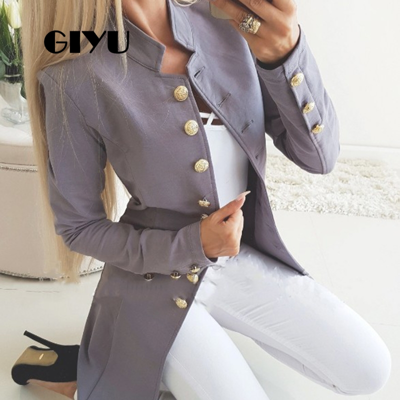GIYU Autumn Long Sleeve Vintage Long Jackets With Buttons Women Slim Casual Jacket Single Breasted Chaqueta Mujer