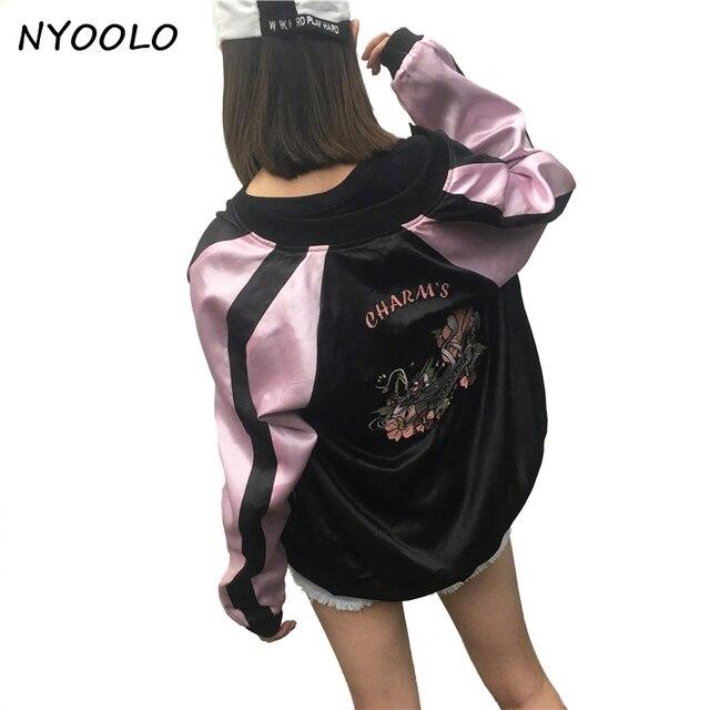 c24528707d8 Nyoolo primavera otoño streetwear hermoso Rosa Panther juguetón bordado  béisbol uniforme chaqueta mujeres hombres prendas de