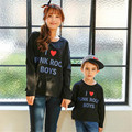 2017 Spring Family Matching Clothes Print I Love PUNK ROCK BOYS Solid Long Sleeve T-shirt Mother Son Outfits Family Look