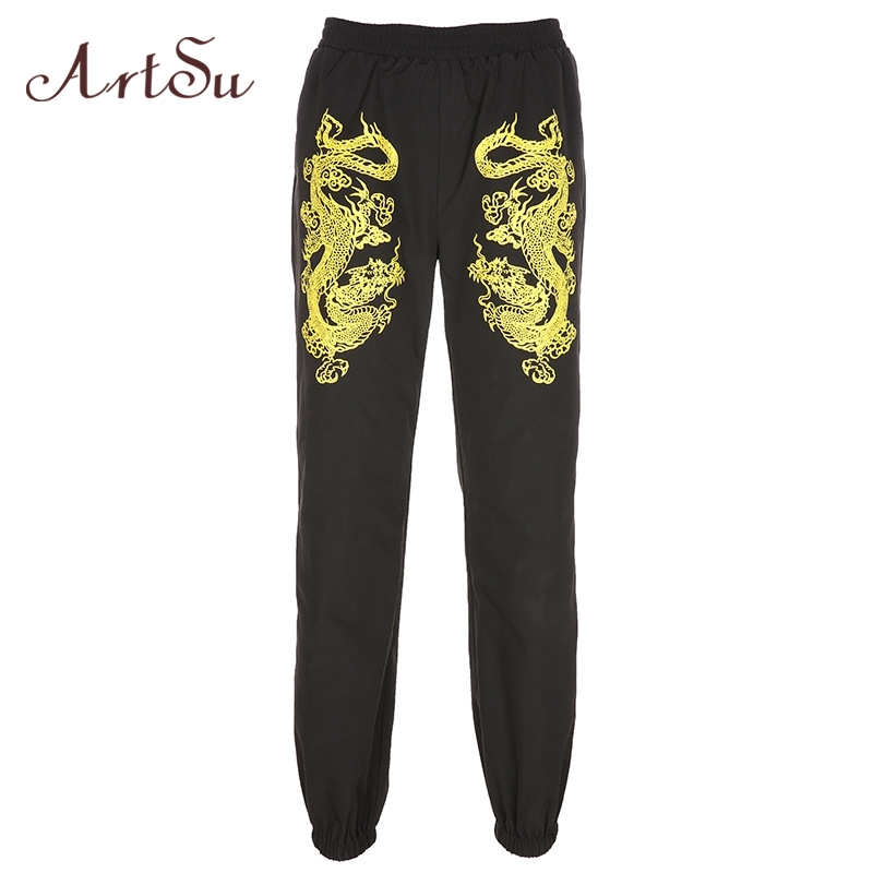 ArtSu Dragon Printed Black Elastic High Waist Trousers Ladies Joggers Women Baggy Black   Pants     Capri   Streetwear Summer ASPA20219