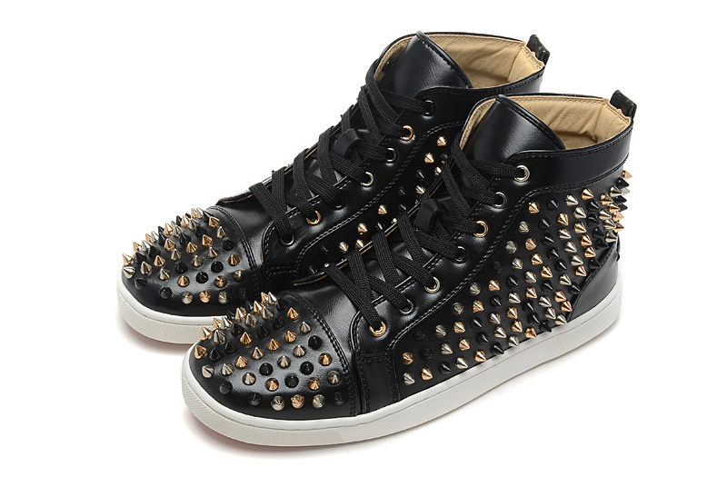 black gold Silver spikes Men Red Bottom Sneakers black Genuine Leather high  top women Sneaker flat Brand casual shoes-in Men s Casual Shoes from Shoes  on ... 293f59405a