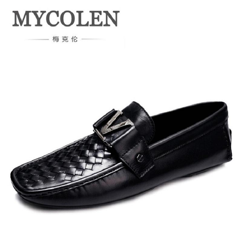 MYCOLEN 2017 New Genuine Leather Men Business Loafers Casual Shoes Men Fashion Breathable Driving Shoes Black Loafers Plus Size mycolen mens casual genuine leather flats loafers for men comfortable business wine red black crocodile print man leather shoes