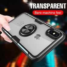 Luxur Car Ring Case On For IPhone 6 6s 7 8 Plus XR X XS Max Soft Silicone Cover For IPhone 6 6s 7 8 Plus PC Back Shockproof Case(China)