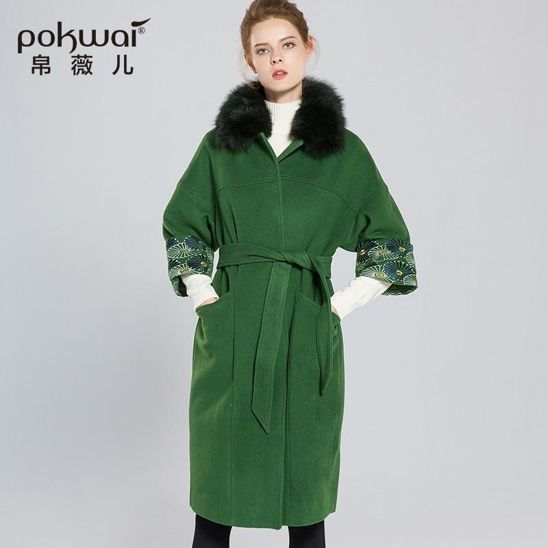 POKWAI 겨울 자수 녹색 울 코트 여성 우아한 벨트 슬림 여자 긴 코트 럭셔리 모피 칼라 여성 외투 파카