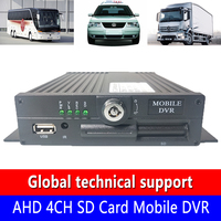 Source factory AHD 4CH SD Card Mobile DVR h. 264 video code truck/taxi 4 channel local video audio monitoring machine
