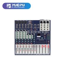 YUEPU RU-8Ts Profissional Mixer De Áudio 8 Canais de Som 48 V Phantom Power Reverbration Mixing Console Player de Música USB Para DJ