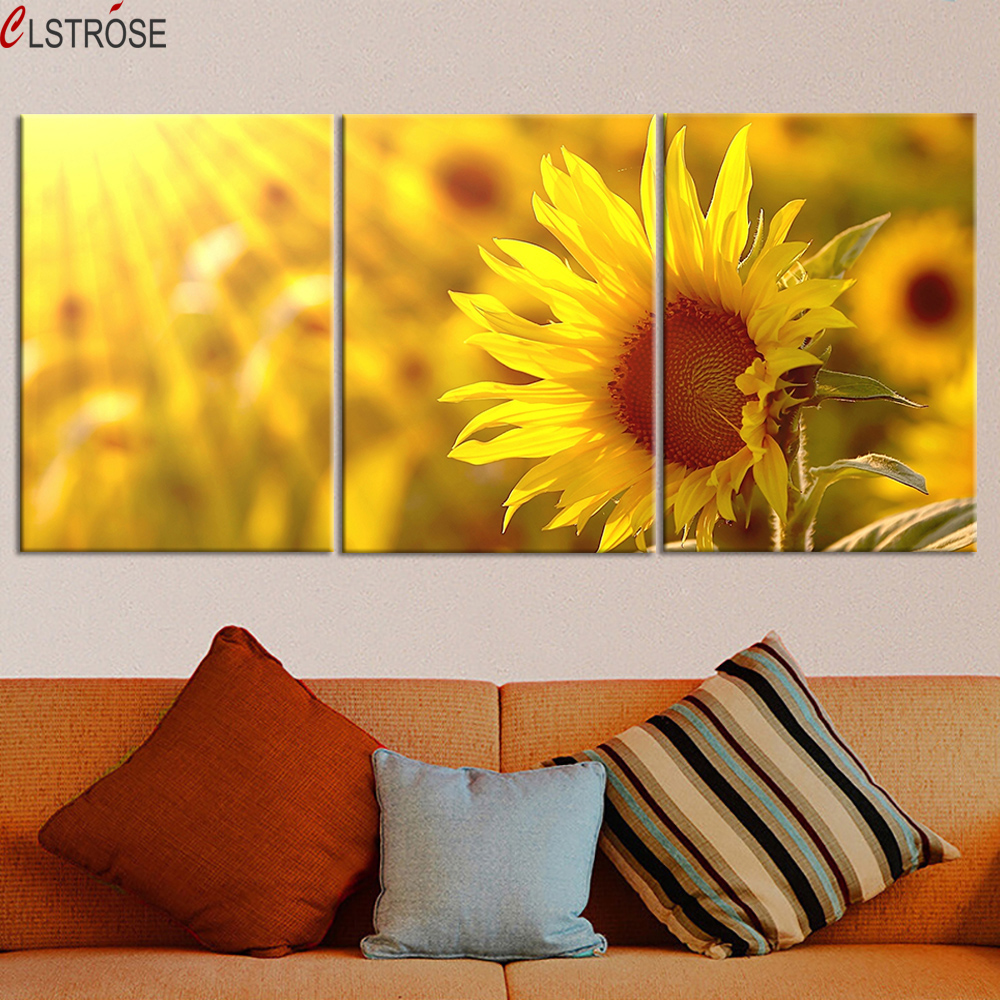 CLSTROSE Special Offer Beautiful Sunflower Canvas Painting 3 Pieces Wall Art  Flower Paintings For Living Room Home Decoration