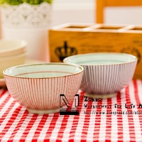 New Arrival Zakka Wholesale Ceramic Glaze Red And Blue Striped Lines Rice Bowl Soup Bowl Children