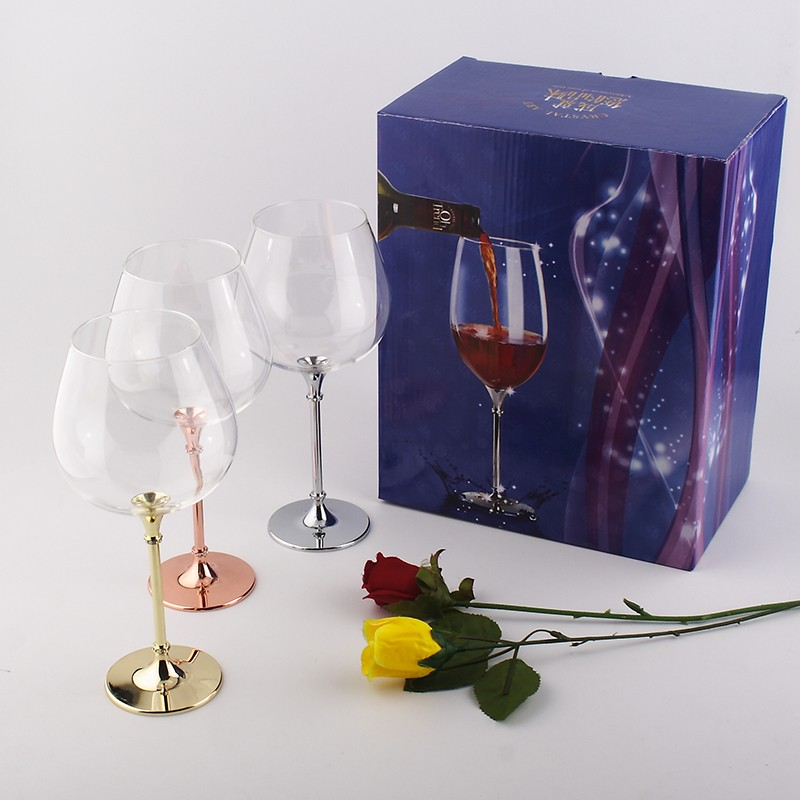 3260f198b029 High quality crystal 680ml wine glasses with rose gold stem ...