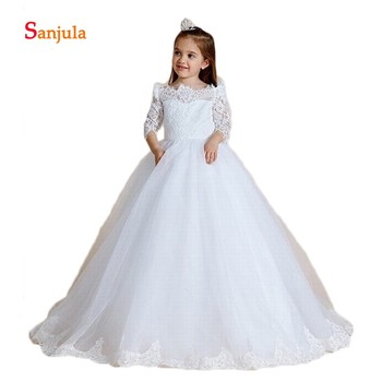 White Lace and Tulle Princess Flower Girls Dresses Puffy A-Line Half Sleeve Girls First Communion Dresses Long 2019 Newly D110