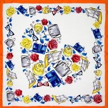 Шелковый женский шарф модный шейный платок щелковая бандана топ печать маленький квадратный шелковый шарф Горячая Роскошная Леди подарок