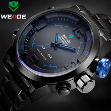Top Luxury Brand WEIDE Men Full Steel Watches Men's Quartz Analog LED Clock Man