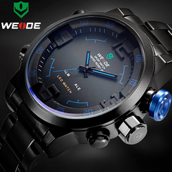Top Luxury Brand WEIDE Men Full Steel <font><b>Watches</b></font> Men's Quartz <font><b>Analog</b></font> LED Clock Man Fashion Sports Army Military <font><b>Wrist</b></font> <font><b>Watch</b></font>