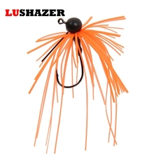 LUSHAZER tungsten fishing weights hooks rubber jig 3.5g lead jig head fishing hook anzuelos acero carbono fishing accessories