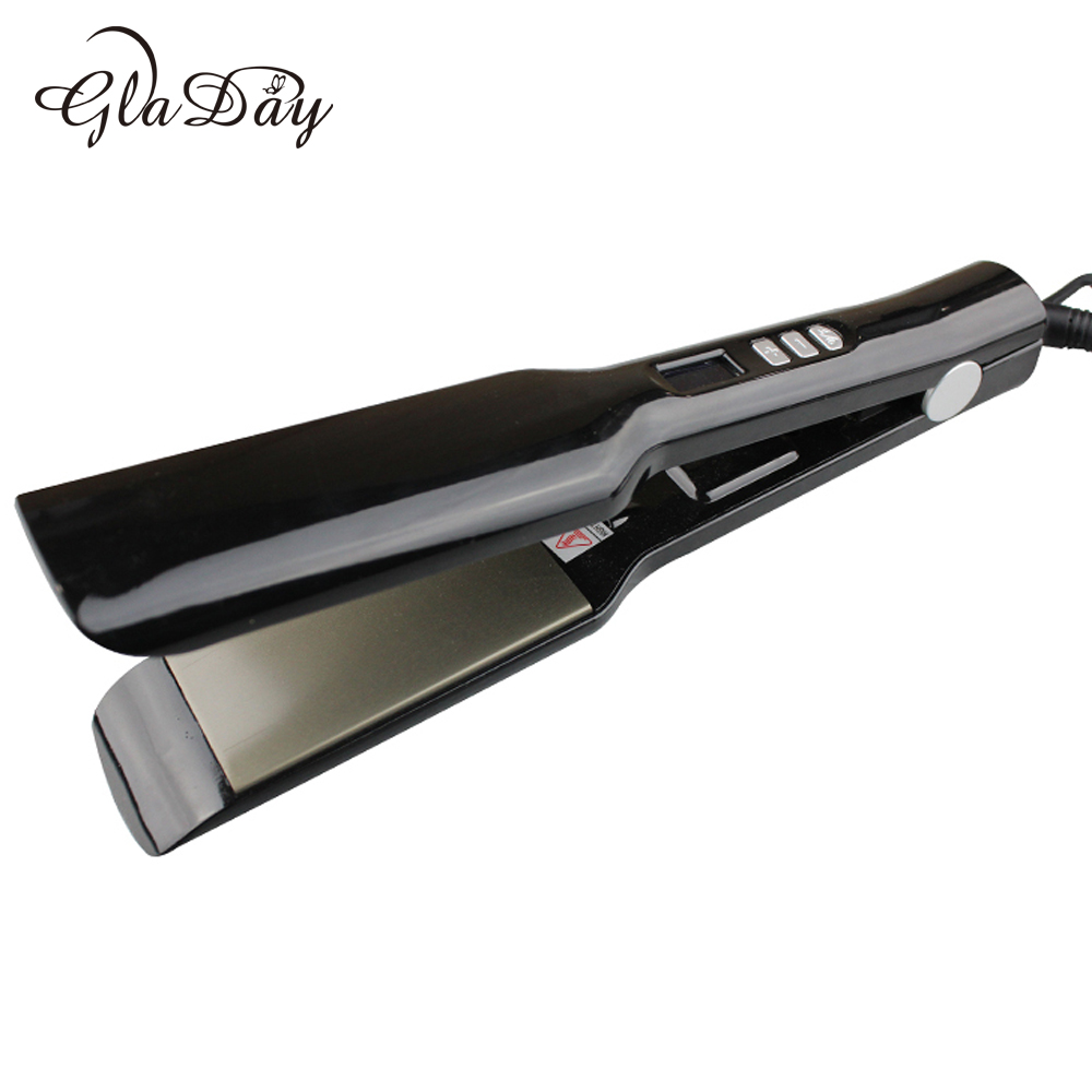 Black Curling Styling Iron Straightener Nano Titanium Flat Straightening Irons Adjusted Temperature Hair Iron EU US plug professional vibrating titanium hair straightener digital display ceramic straightening irons flat iron hair styling tools eu