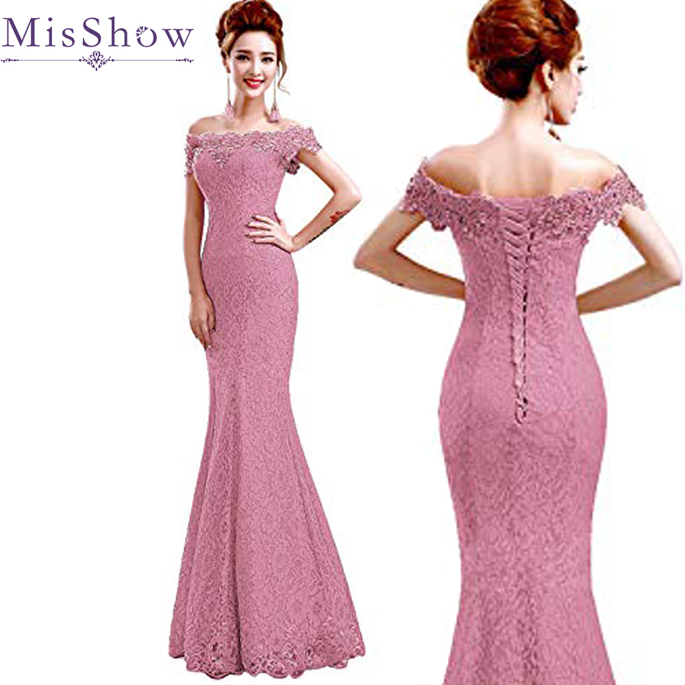 2019 Dusty Pink Long Evening Dress Party Women Lace Mermaid Boat Neck Evening Gown Beaded Formal