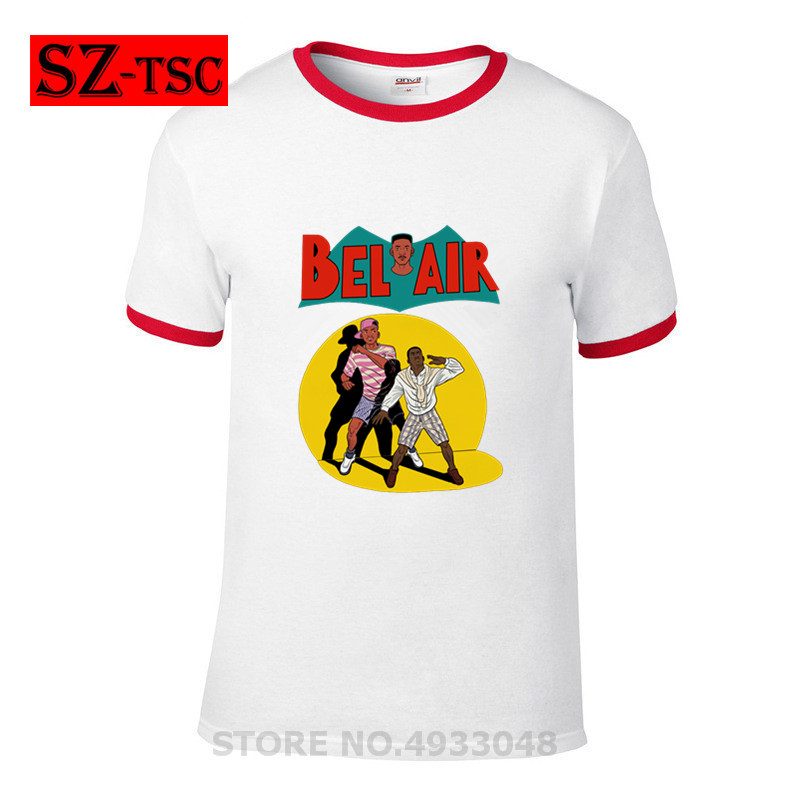 Men T Shirt fresh comics 90s TV show on sale BEL AIR T-Shirt Fashion Short Sleeves Tee Shirt Men Printed Cotton Plus size Tshirt image