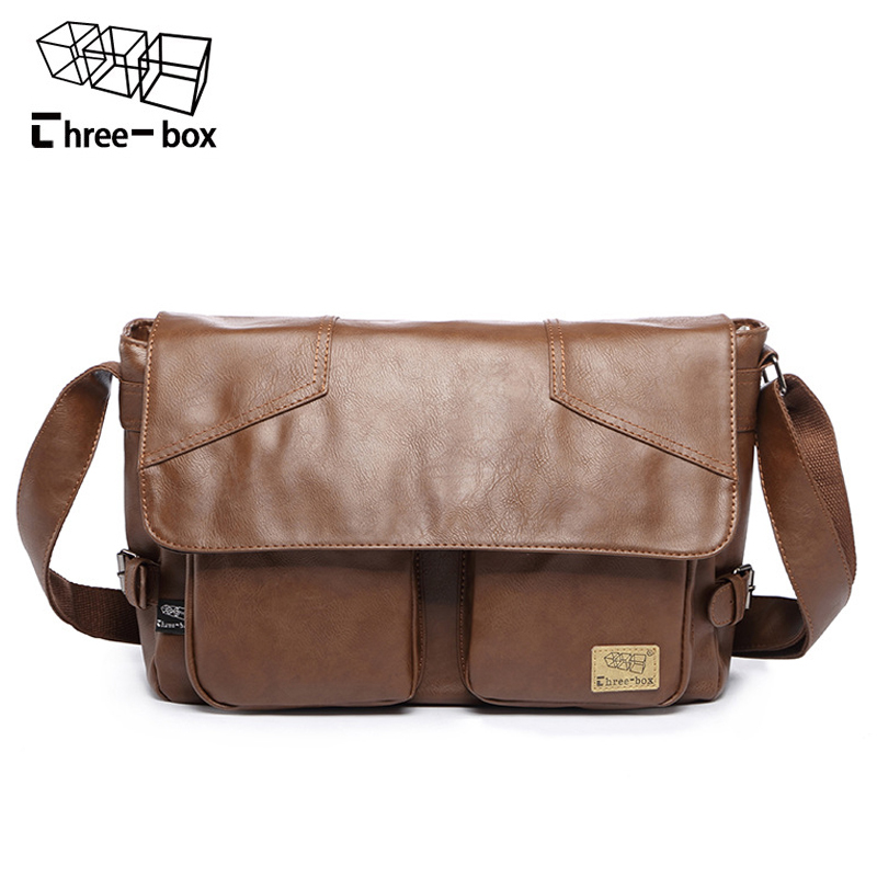 Three-box Brand Men Leather Casual Large Capacity Messenger Bag Man Vintage Crossbody Shoulder Bag Busines Travel Bags Bolsas the box man
