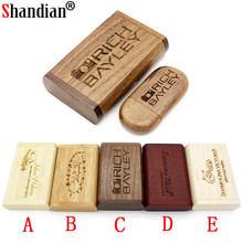 SHANDIAN wooden usb + box flash drive pendrive 4gb 8gb 16gb 32gb memory stick