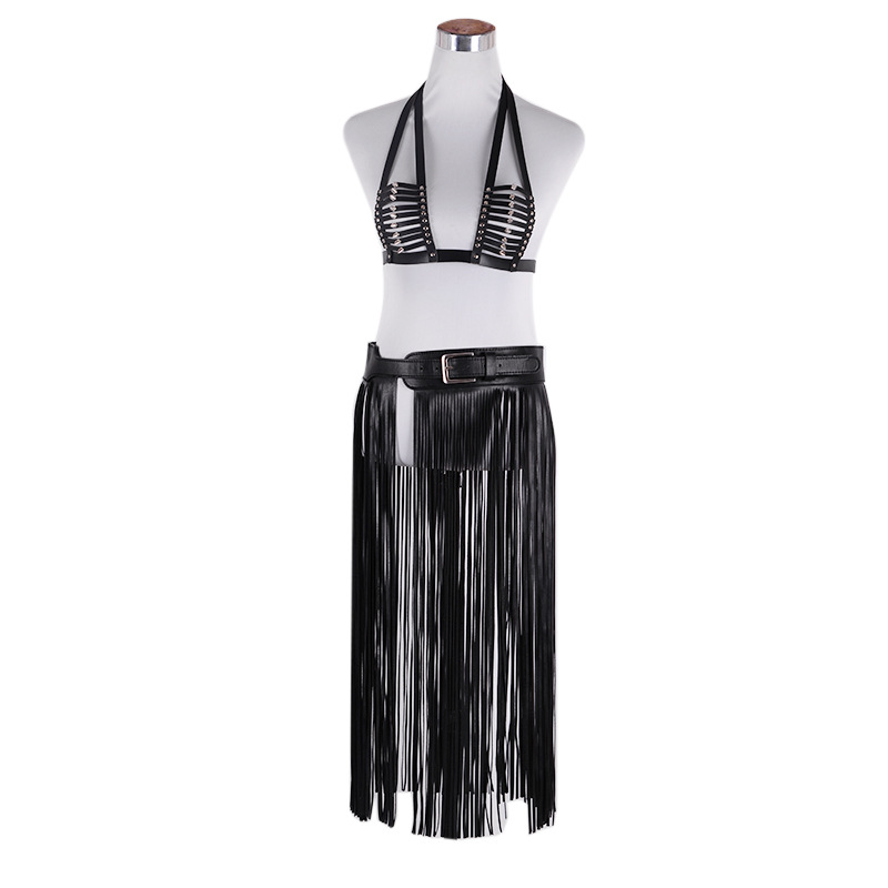 Lady Fringe Tassel Black Faux Leather Ladies Belts Sexy Leisure Skirt High Waist Fashion Women Long Belt Nightclub B-8387