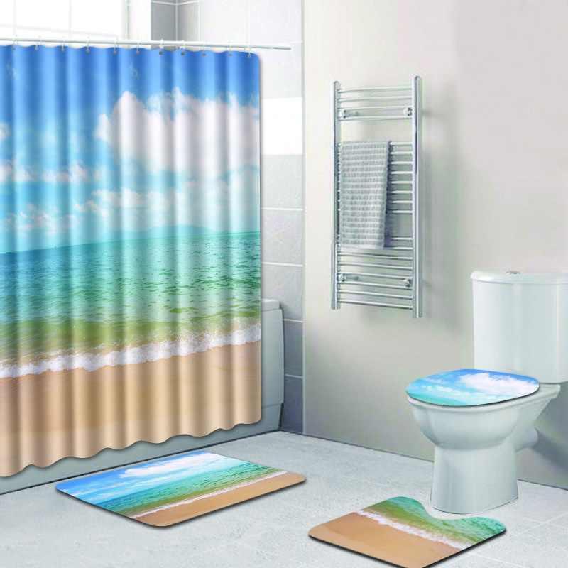 ... Free Shipping 4pcs Nightfall Beach Banyo Bathroom Carpet Toilet Bath  Mats Set Non Slip Pad Tapis ...