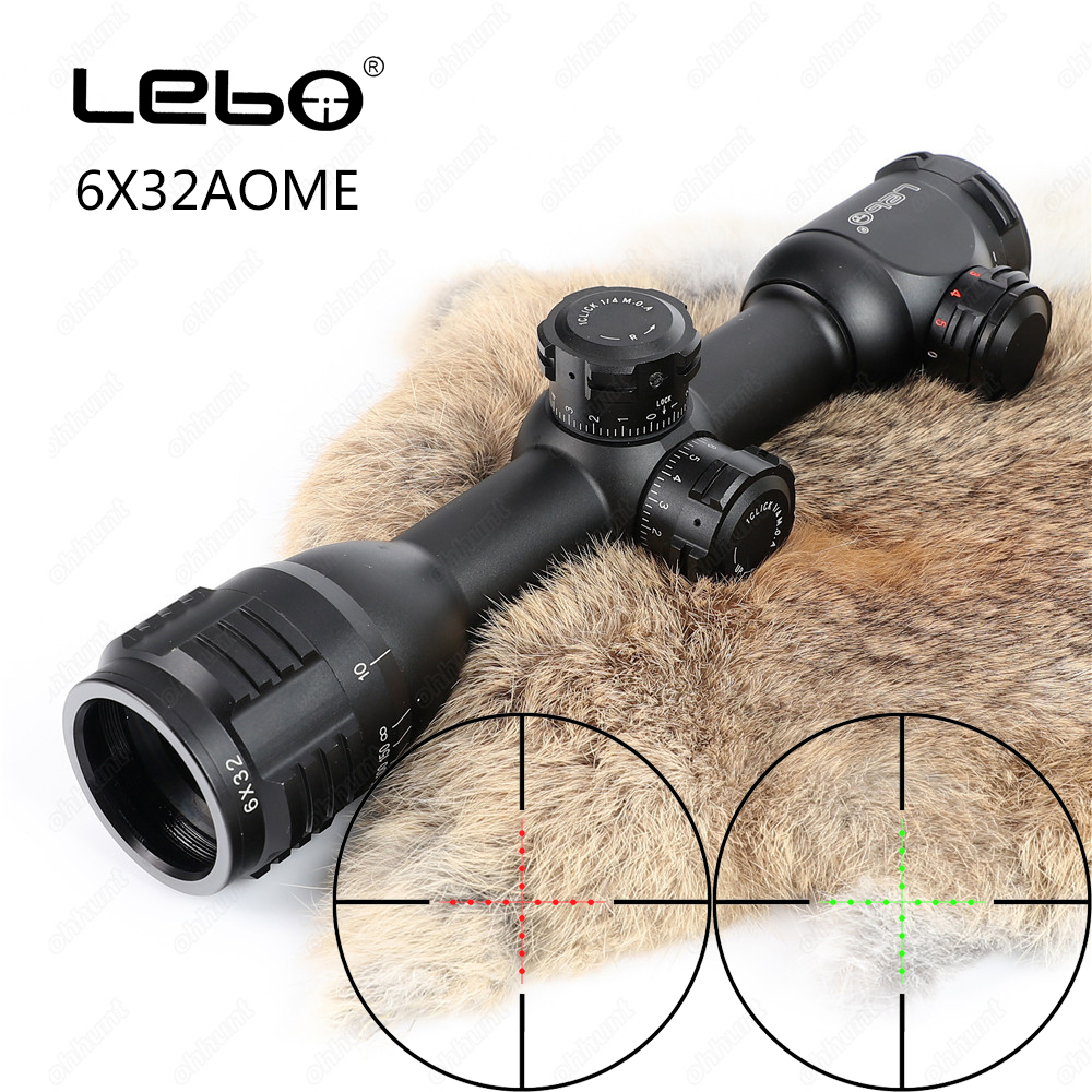 LEBO 6X32 AOME Riflescope Hunting Optics Red Green Mil-Dot Fully Multi-coated Optical Sights Compact Tactical Scope With Mounts visionking 1 5 5x32 wide angle hunting tactical military waterproof riflescope fully multi coated rifle scope 223 professional
