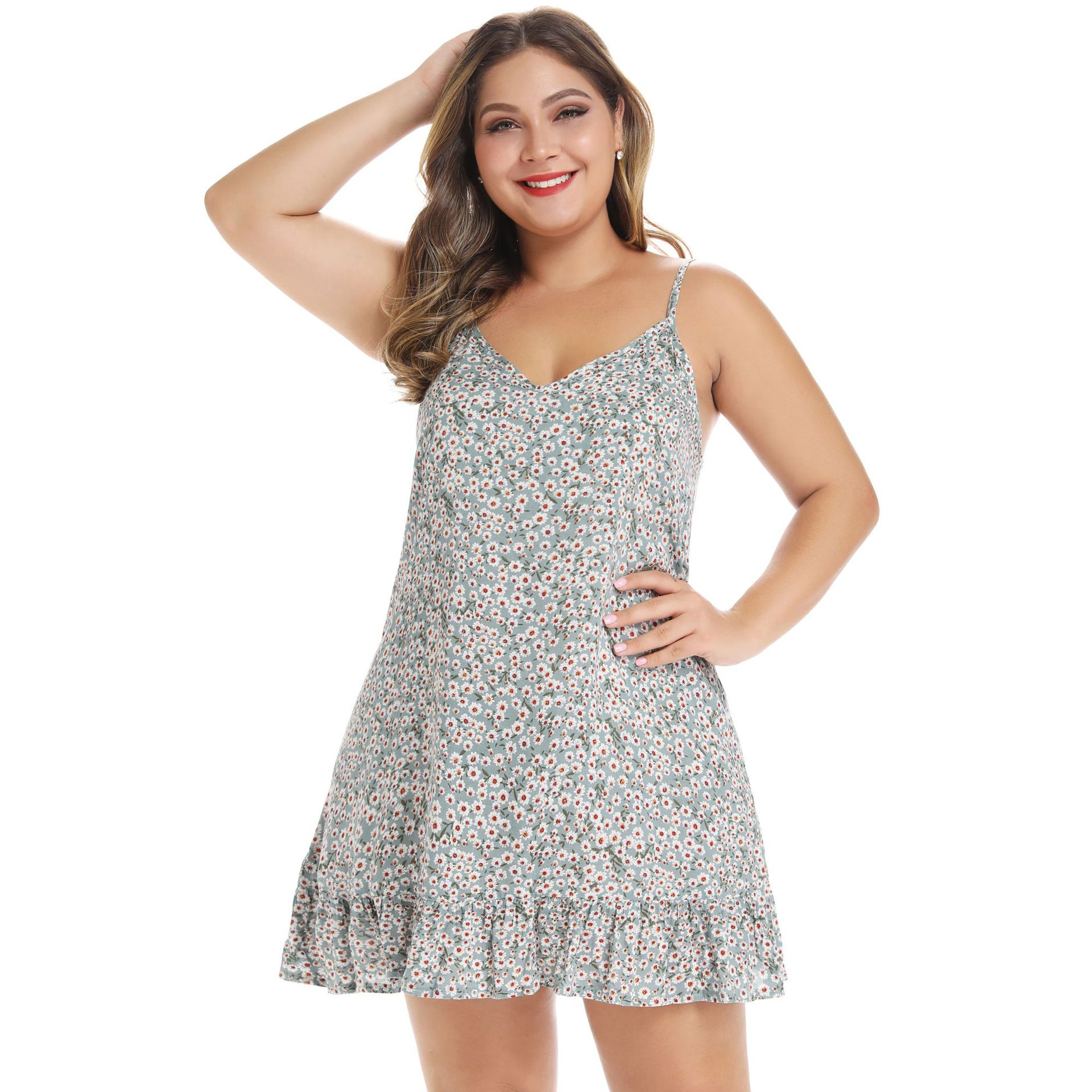 Plus Size Dress Elegant Summer Floral Print Spaghetti Strap Boho Mini Dress Women Casual Off Shoulder Party Dresses Wrap Vestido in Dresses from Women 39 s Clothing