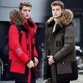 Novo 2016 inverno Para Baixo homens jaqueta gola de pele de espessura hoodies jacketcoat fino patchwork ocasional parkas quente casaco de neve