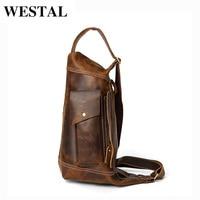 WESTAL Crossbody Men's Bag Genuine Leather Casual Tote Sling Bag Messenger Men's Shoulder Bag Vintage Coffee Messenger Bags 2245
