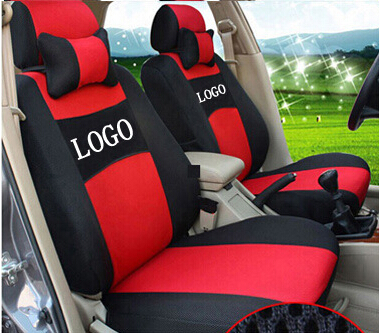 Car Seat Cover Embroidery Logo Front Rear Complete 5 Seat Set For SUBARU XV Forester Outback