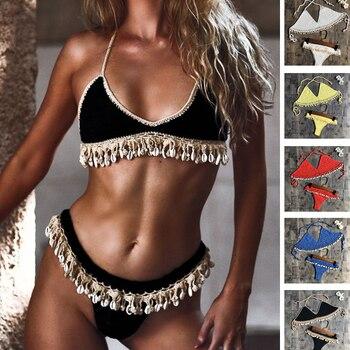 цена на Crochet Bikini Set Shell Tassels Bikini Brazilian Crochet Swimsuit Women Halter Swimwear Strappy Bikinis Free Shipping  2019 New