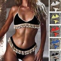 Crochet Bikini Set Shell Tassels Bikini Brazilian Crochet Swimsuit Women Halter Swimwear Strappy Bikinis Free Shipping 2019 New