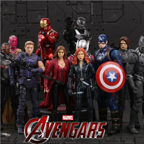 New Marvel Amazing Captain America Iron Man PVC Action Figure Toy With Bracket Collectible Model Toy for Kids