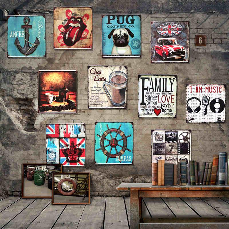1PC LOFT American Retro Punk l Tin Signs Painting Creative Frameless Paintings Bar Decoration Wall Art Decor