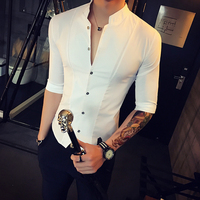 Stand Collar Chinese Style Men Shirt Slim Fit Korea Clothes Men Half Sleeve 2019 Summer Designer Club Shirt Camisa Masculina