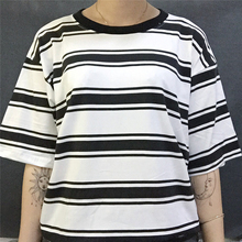 College Wind Loose Striped T shirt Women Short-sleeved Hit Color Casual Female T shirts Large Size S-XL Round Neck Woman Tops цена
