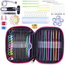 100pcs Aluminium Crochet Hooks Knitting Needles Set Weave Craft with Bag Knit Gauge Scissors Stitch Holders Cute DIY Tools