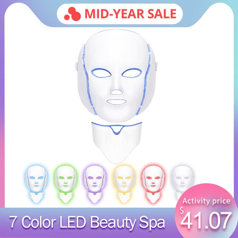 7 couleurs LED clair masque pour le visage avec rajeunissement de la peau du cou traitement de soins du visage beauté Anti-acné thérapie Instrument de blanchiment