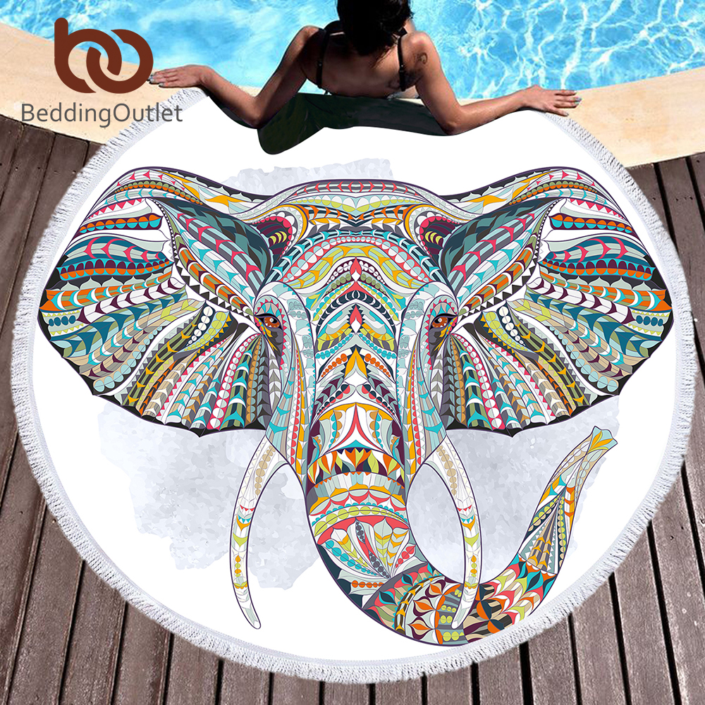 BeddingOutlet Elephant Round Beach Towel Bohemian Indian Tassel Tapestry Totem Yoga Mat Colored Microfiber Toalla Blanket 150cm
