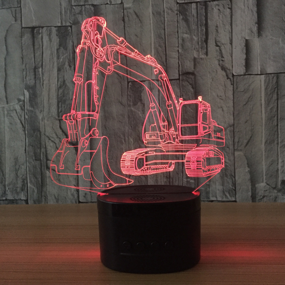 3D Excavator Night Light Illusion LED touch Table Lamp 7 Colors USB Novelty Luces Car Shape Bedside Nightlight Lamps boy gift