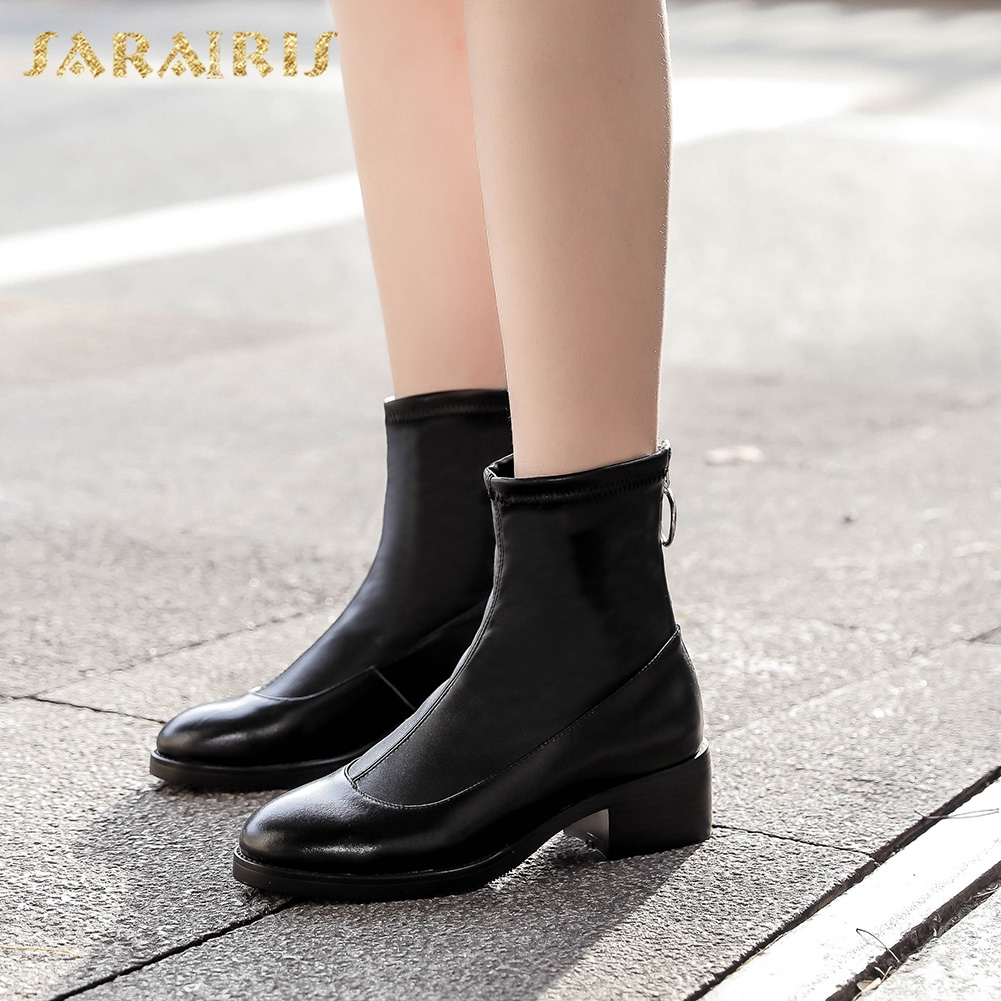SARAIRIS 2018 Genuine Leather Large Size 33-43 Cow Leather Square Heels Zip Up Ankle Boots Spring Autumn Boots Shoes Woman цена