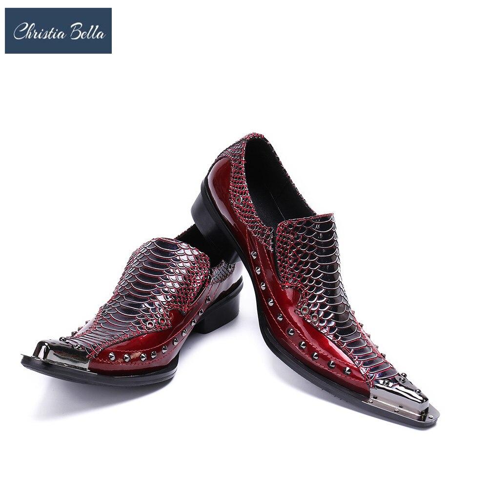 Christia Bella Punk Style Men Genuine Leather Dress Shoes Social Sapato Brand Designer Rivet Oxfords Shoes for Men Plus Size 47