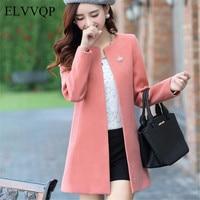 Slim Koream Woman Wool Coat Plus Size Women Autumn Cardigan Jacket Abrigos Mujer Invierno 2018 Elegante Winter Woolen Coat NW47