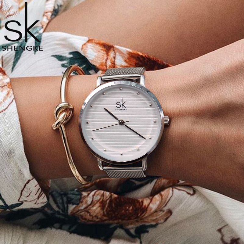 Shengke SK Brand Fashion Quartz Women watch Stainless Steel Band ladies Dress Watches Women Quartz-Watch Relogio Feminino Gift 2016 women diamond watches steel band vintage bracelet watch high quality ladies quartz watch