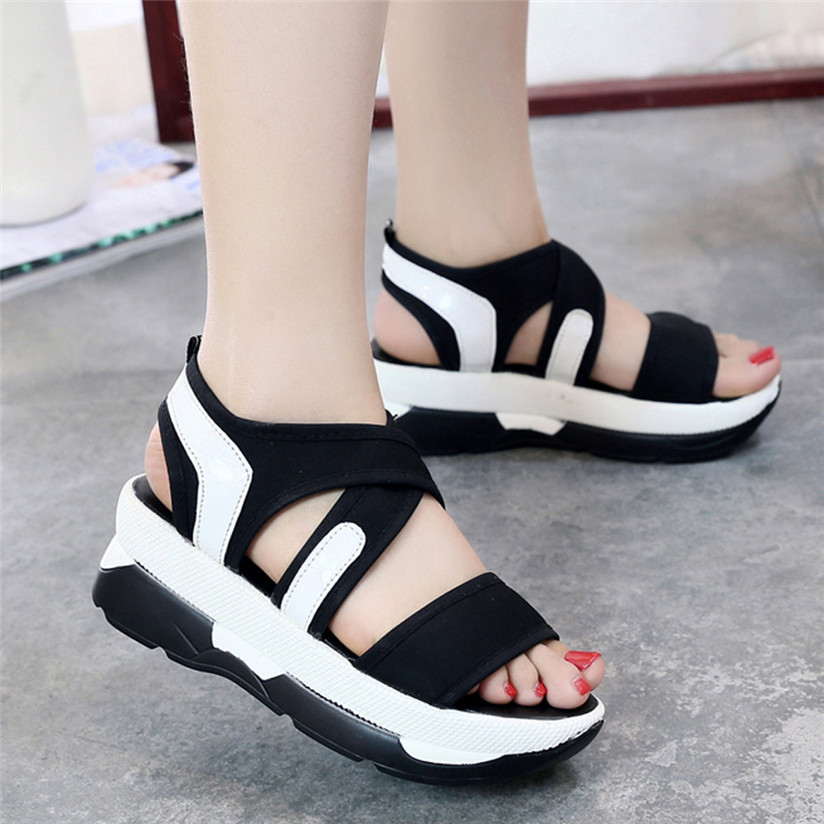 2017 Summer Women's Sandals Casual Sport Mesh Breathable Shoes Woman Comfortable Wedges Sandals Lace Platform Sandalias D35J21 phyanic 2017 gladiator sandals gold silver shoes woman summer platform wedges glitters creepers casual women shoes phy3323