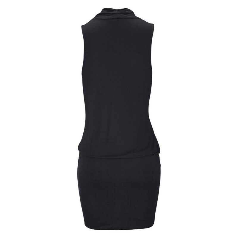 Women Clothes Women Sexy Deep V-neck Sleeveless Mini Dress Summer Beach Dress with Belt 3