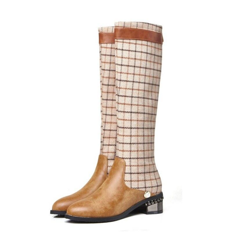 Bottes Taille Épais Genou Beige Chaussures Démarrage Automne La Bout Sur Patchwork Rond Femmes black Plus Nouveau Dames Mode De Le Longues Talons 45 tsQhrdCx