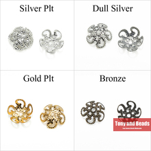 (200Pcs=1Lot ! ) Free Shipping Jewelry Finding 10MM 5Leaf Hollow Flower End Beads Caps Gold Silvers Bronze Nickel Plated No.BC1